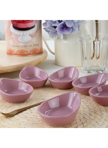 Keramika Keramika Mini Gondol Violet Çerezlik / Sosluk 8 Cm 6 Adet Renkli
